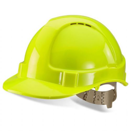Click B-Brand Vented Hi Vis Yellow Safety Helmet